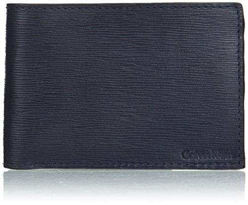 Calvin Klein Men's Textured Leather Slimfold Wallet, ink, One Size