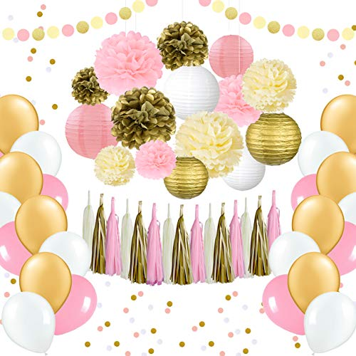 EpiqueOne 62 Pc Party Supplies Kit - Pink and Gold Party Supplies - Elegant Party Decorations Birthday & Engagement Party Decorations & Unicorn Party Supplies Kit- Includes Balloons, Pom Pom, Lanterns -