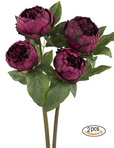 Rinlong Artificial Peony Vintage Silk Flowers Stems 2pcs Wine Red for Floral Arrangements Home Decor Bridal Bouquet Red Floral Arrangement