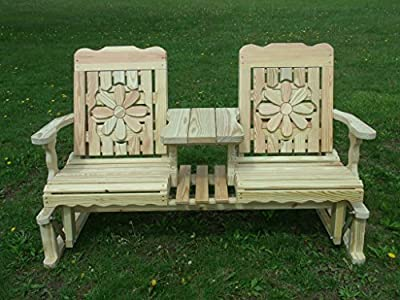 5 Foot Pressure Treated Pine Designs Outdoor Daisy Cutout Settee Glider