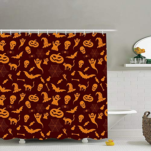 bag pack home Halloween Holiday Seamless Pattern Backgrounds Textures Art Holidays Fabric Bathroom Decor Set with Hooks, 72 x 72 -