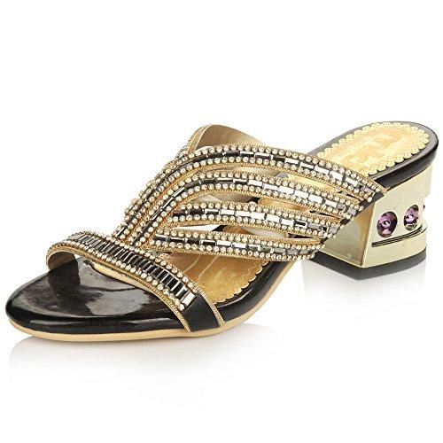 YMFIE Diamantes de imitación de Lujo Sandalias de tacón Alto Verano Señora Cómodo Tacones Antideslizantes black