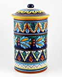 Hand Painted Italian Ceramic 11-inch Canister Geometrico 39E - Handmade in Deruta