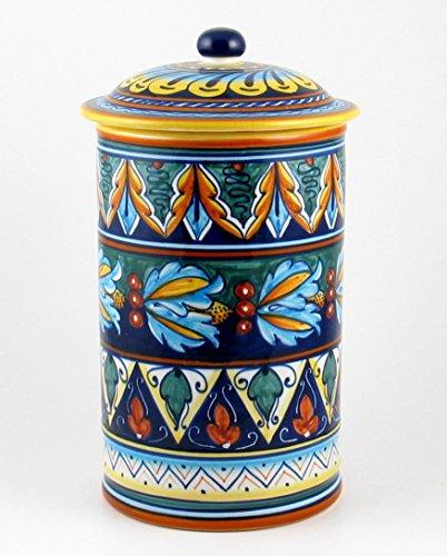 Hand Painted Italian Ceramic 11-inch Canister Geometrico 39E - Handmade in Deruta by Eugenio Ricciarelli