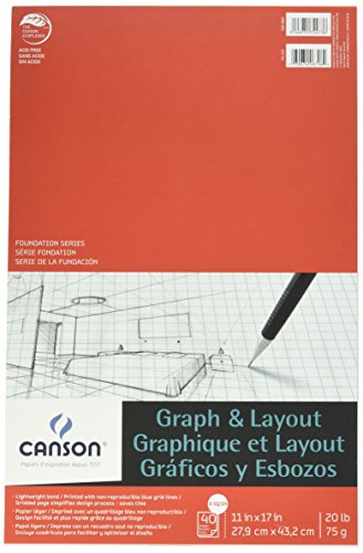 Canson Foundation Series Graph and Layout Paper Pad with Non Reproducible Blue Grid, 20 Pound, 8 by 8 Grid on 11 x 17 Inch Paper, 40 Sheets