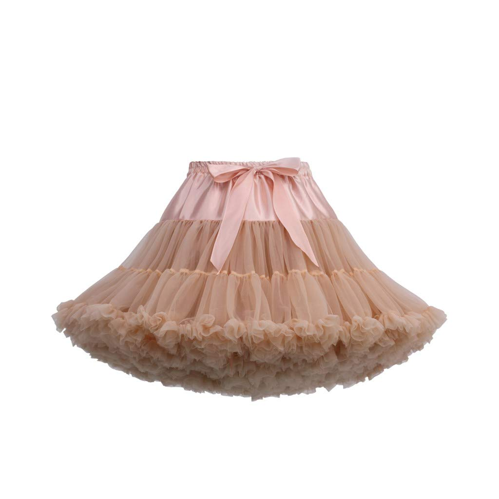 Women's Tulle Skirts A-Line Mini Skirts Fashion Sexy Solid Color Party Dance Ballet Bow Short Tutu Skirts (Free Size, J)