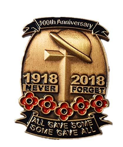 100e Anniversaire du Jour du Souvenir 1918–2018Poppy Croix en métal Épinglette Badge best badge