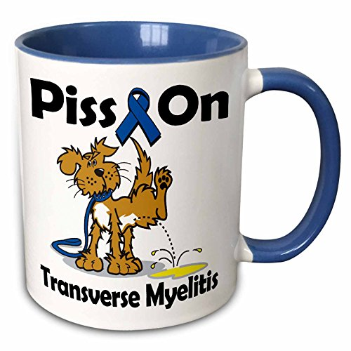 - 3dRose Dooni Designs Cause Awareness Ribbon Designs - Piss On Transverse Myelitis Awareness Ribbon Cause Design - 15oz Two-Tone Blue Mug (mug_115951_11)