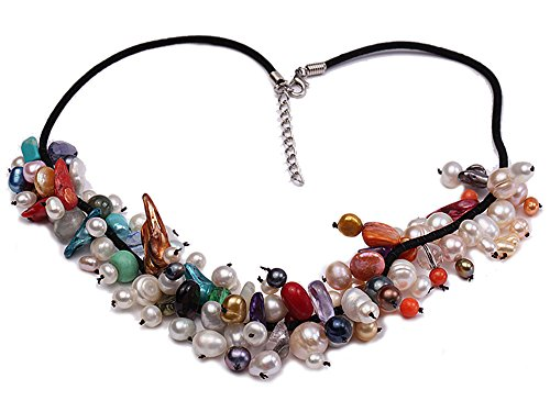 JYX Pearl Necklace for Women Colorful Round and Baroque Freshwater Pearl Necklace with Crystal and Coral Beads 17