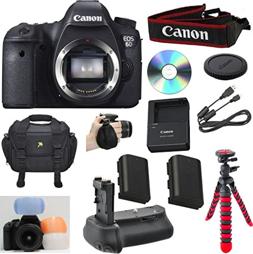 "Cheap Canon EOS 6D 20.2 MP CMOS Digital SLR Camera with 3.0-Inch LCD (Body Only) Celltime Bundle with High Power Battery grip + Extra High Capacity Replacement Battery + 12"" Flexible Tripod + 8pc Accessory Bundle Kit"