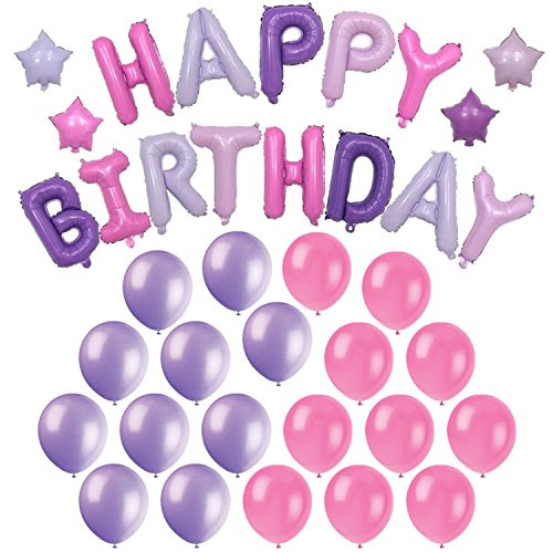 Happy Birthday Foil Balloons (Mylar) + 4 Colored Star balloons + 20 Pink and Purple Latex Balloons - The Ultimate Girls Birthday Party Decorations Kit