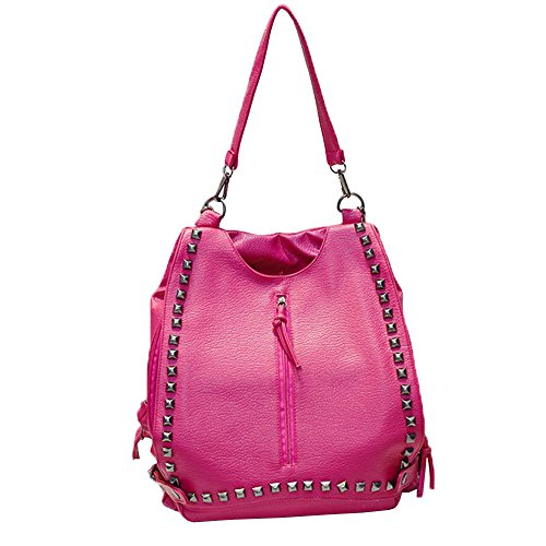 her Rivet Totes Shoulder Bags Backpack Travel Daypack Handbags Rosered Hobos (Cellini Bread)