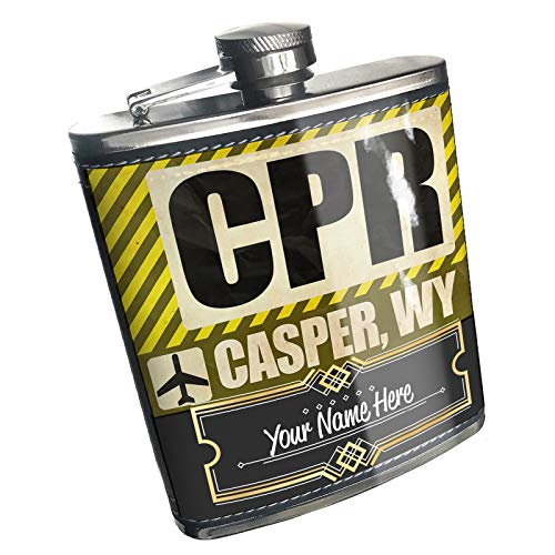 Neonblond Flask Airportcode CPR Casper, WY Custom Name Stainless Steel