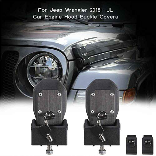 zfproduct Auto Hood Lock Latches Buckle Pins Catch with Key Fit for 2018 Jeep Wrangler JL (Size 2)