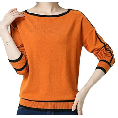 desolateness Women's Fashion Round Neck Long Sleeve Stripe Pullover Sweater
