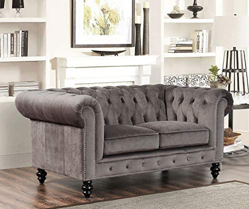 Abbyson Living Contemporary Velvet Loveseat