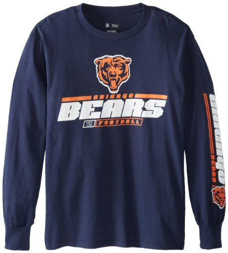 NFL Chicago Bears Mens Primary Receiver IV Long Sleeve Tee, Navy, Small Apparel Accessories