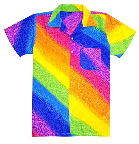 Virgin Crafts Hawaiian Shirt for Mens Short Sleeve Rainbow Print Casual Fashion Beach Shirt