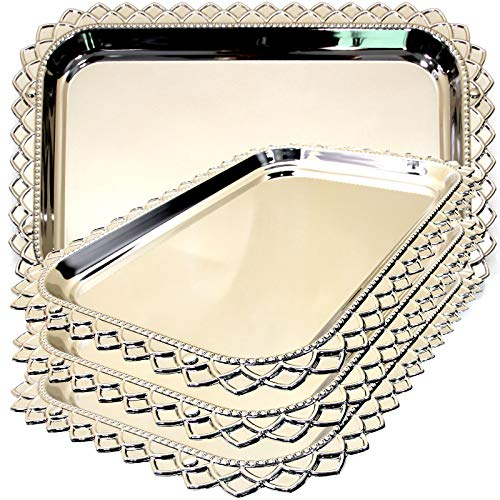 Maro Megastore (Pack of 4) 16.7-Inch x 12-Inch Oblong Chrome Plated Serving Tray Edge Pattern Engraved Decorative Wedding Birthday Dessert Cake Snack Wine Candle Serving Platter Plate 1855 Ts-121