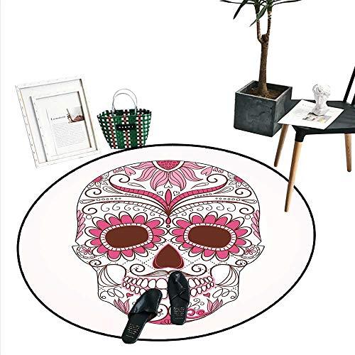 Sugar Skull Decor Dining Room Home Bedroom Carpet Floor Mat Mexican Ornaments Calavera Catrina Inspired Folk Art Macabre Soft Area Rugs (4'2