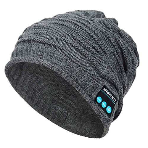 Welltop Bluetooth Beanie Hat Knit Skull Hat Bluetooth Trendy Music Hat with Wireless Headphones Hands-Free Stereo Mic Knit Hat Cap for Men Woman Outdoor Activities