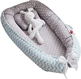Volwco Newborn Lounger,Portable Soft Baby Bed Travel Bassinets Nest,Removable And Washable Infants Anti-Pressure Bedcrib Bionic Bed,100% Cotton Bassinet Crib,Breathable And Hypoallergenic Sleep Nest