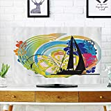 tv dust Cover Joyful Tropical Flowers Clouds Sky Speed Boat Luxury Dust Resistant Television Protector W30 x H50 INCH/TV 52''