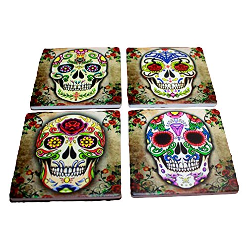 Sugar Skull Spirit Coaster Set of