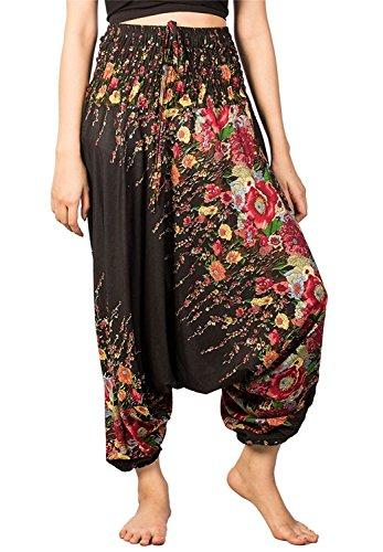 Boho Vib Womens Rayon Elastic Waist 2 in 1 Aladdin Genie Harem Pants Jumpsuit