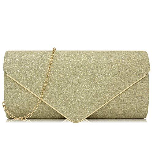 Milisente Women Clutches Glitter Sequins Evening Bag Elegant Envelope Shoulder Bag(Gold) ()