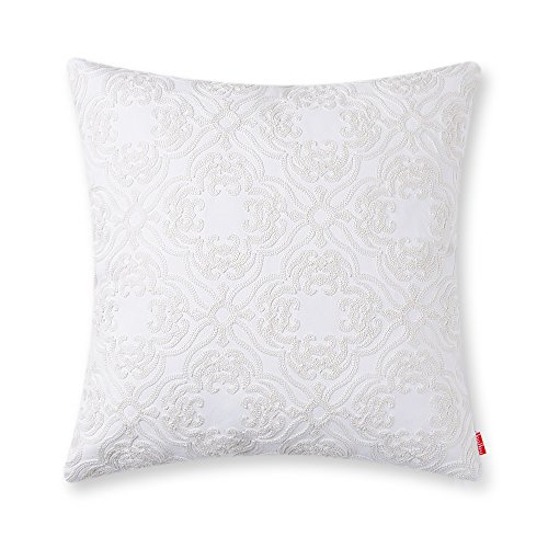 baibu Cotton Embroidered Decor Throw Pillow Case Floral Pattern Cushion Cover for Living Room White
