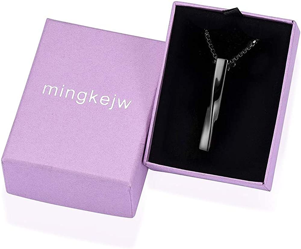 mingkejw Bar Cremation Jewelry Urn Necklaces for Ashes Stainless Steel Urn Keepsake Memorial Cremation Jewelry for Human Ashes for Men Women