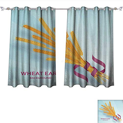 Wheat Light 4 Chandelier (NineHuihome Room Darkening Wide Curtains Cartoon Background with Wheat Ears and Ribbons Colorful Vector Illustration Tie Up Window Drapes Living Room W55 x L39/Pair)