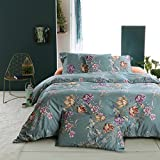 Vintage Botanical Flower Print Bedding 400tc Cotton Sateen Romantic Floral Scarf Duvet Cover 3pc Set Colorful Antique Drawing of Summer Lilies Daisy Blossoms (Queen, Teal Mist)