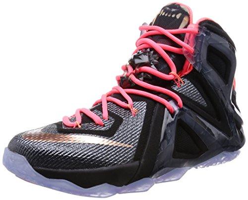 Nike LeBron XII Elite Mens Basketball Shoes Black/Metallic Red Brnz-white-hot Lava