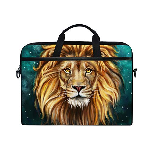 Laptop Bag for Men Women Leo Lion Starry Sky Lighweight Canvas Shoulder Messenger Bag for 14-15 Notebook