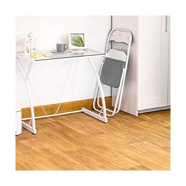 Chaise pliante rembourrée – pour le bureau – gris clair/blanc – lot de 4