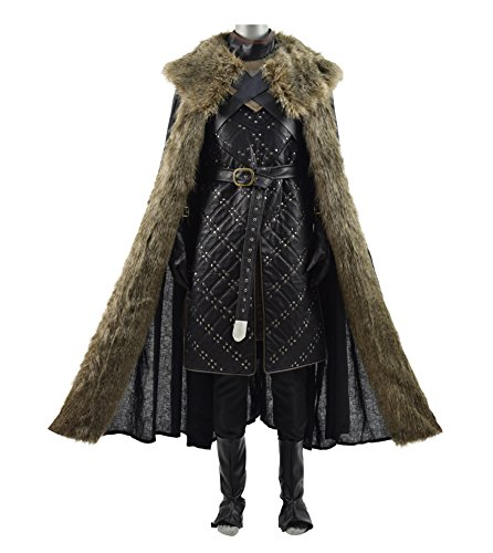 Hot TV Series Knight Snow Costume Leather Armor Deluxe Men Halloween Costume (US Men-M, Black(Armor+Cape))