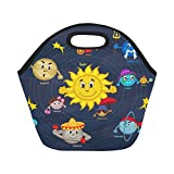 InterestPrint Insulated Lunch Tote Bag Cartoon Solar System Reusable Neoprene Cooler, Universe Planets Portable Lunchbox Handbag for Men Women Adult Kids Boys Girls