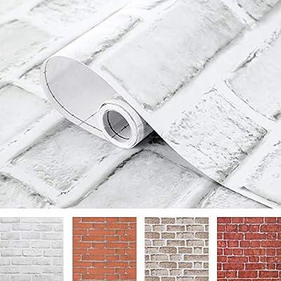 Coavas White Brick Wallpaper 17 7x196 9 Inches Self Adhesive Peel And Stick Paper Christmas Decorative Faux Brick Printed Stick Paper Easy To Stick White Amazon Com