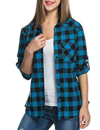 Up Long Sleeve Plaids Buttoned Casual Boyfriend Checkered Flannel Shirt (Checkered Flannel)
