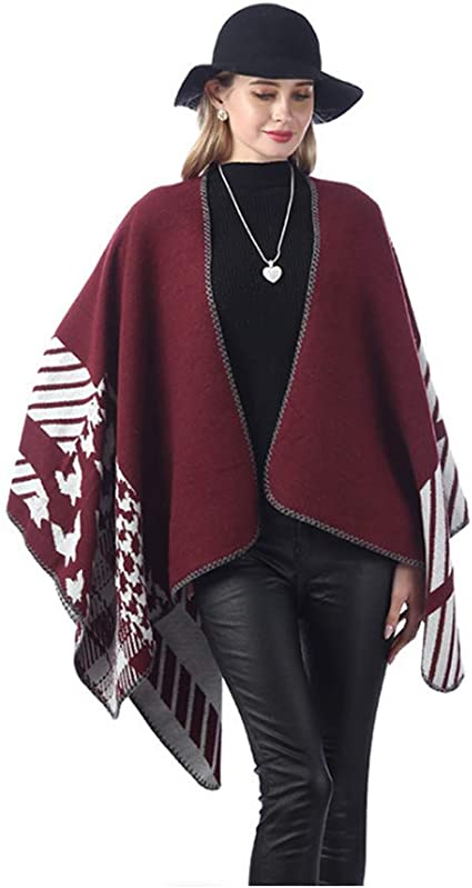 Lingso Shawl Ponchos for Women Ladies Large Warm Wrap Cape knitted Open Front Cardigan Reversible