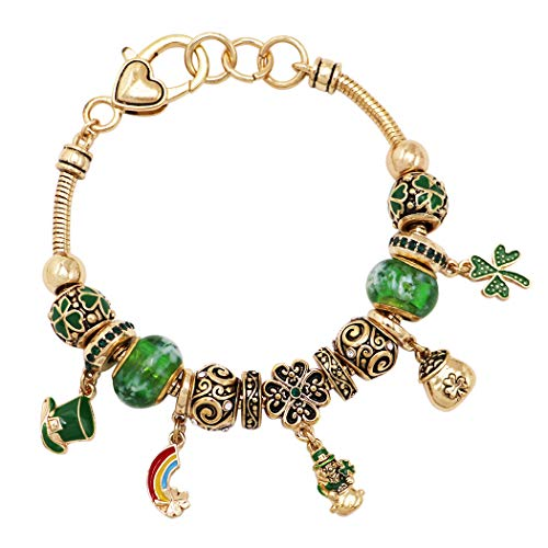 Rosemarie Collections Women's St. Patrick's Day Irish Shamrock Claddagh Glass Bead Charm Bracelet (Shamrock Leprechaun Gold)