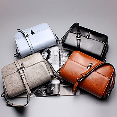 TongLing Womens Shoulder Bag Leather Small Square Bag Leather Shoulder Messenger Bag Ladies Bag Trend Color : Gray, Size : M