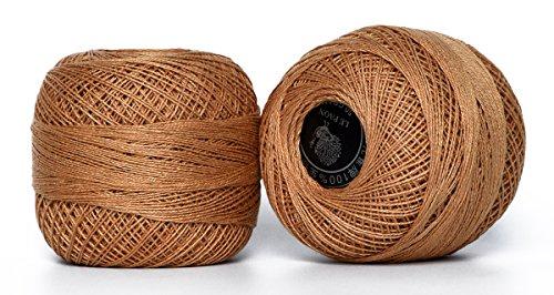 cotton thread mercerized crochet embroidery cotton thread on ball for Crochet, Hardanger, Cross Stitch , 2 Balls (Color No.:437) (Cotton Yarn Sugar And Cream Cones)