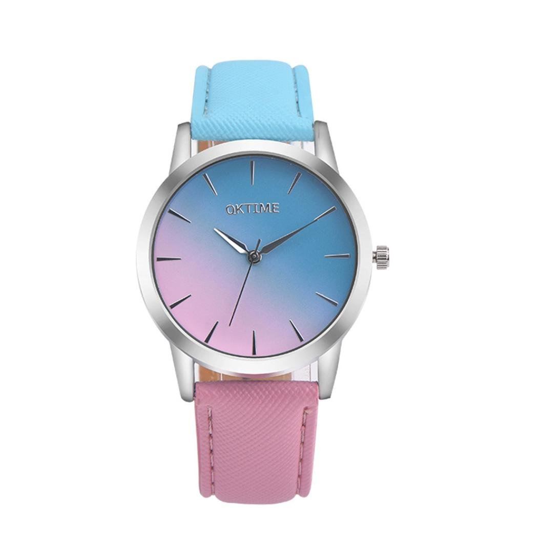Amazon.com: Womens Watch,Lovely Rainbow Leather Analog Alloy Quartz Bracelet Gradient Wristwatch Axchongery (A): Clothing