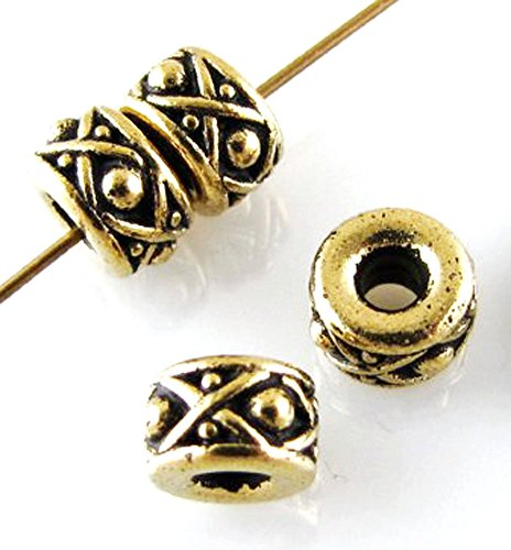 TierraCast 2.5mm Large Hole Beads-ANTIQUE GOLD LEGEND SPACER 8mm (4)