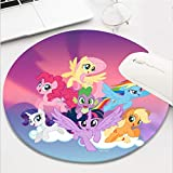 Computer Gaming Mouse Pad Waterproof Non-Slip Rubber Material Round Mouse Mat for Office and Home(8 Inch)-My Little Pony Mane six on Clouds