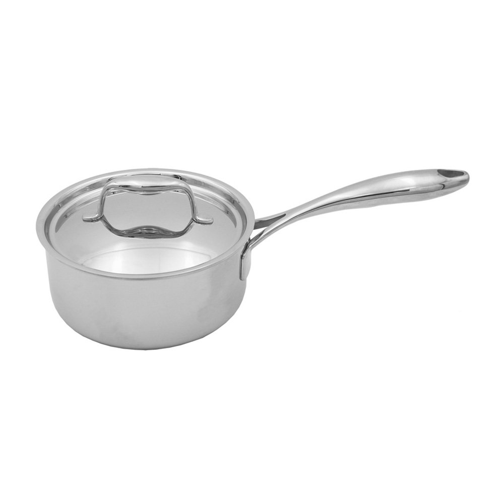 Freezer to Oven Safe up to 500F Induction Compatible Tuxton Home Duratux Tri-Ply 3.32 Quart Dishwasher and Oven Safe Covered Saucepan 3.32QT Multi-Clad Stainless Steel