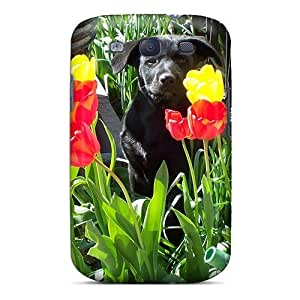 Durable Dog Among Tulips Back Case/cover For Case Samsung Note 3 Cover